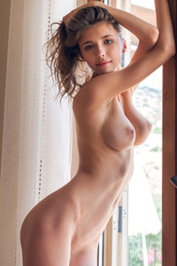 Outstanding brunette angel Mila Azul exposes all she has and calling you to eat her up