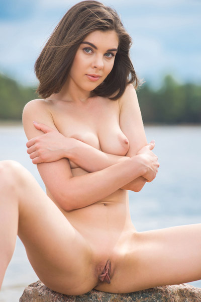Brunette seductress Dakota A presents her perfect naked body on the beach