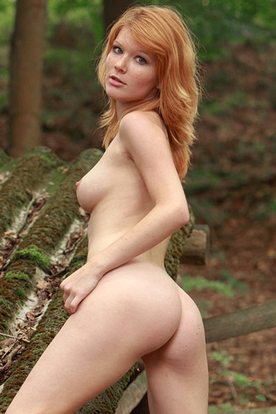 Get in the woods where all natural babe is waiting you butt naked ready for some action