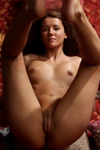 Beautiful and daring brunette flashing with her gorgeous body curves