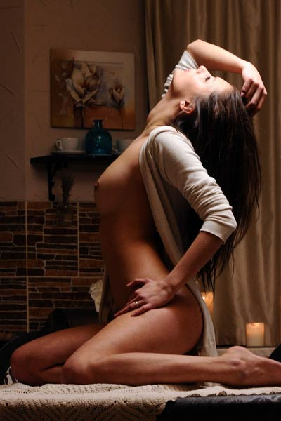 Young and playful brunette served you her delectable body for dinner