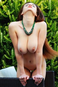 Lovely brunette lets you take a look at her busty natural body from perfect view