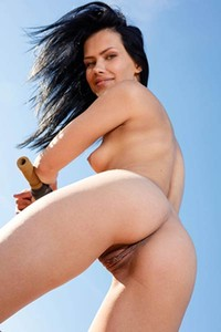 Mesmerizing Laina poses naked by her bicycle showing off all she has