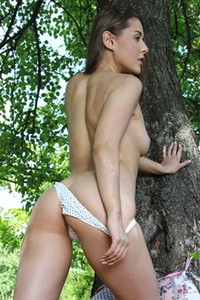 Spend some free time outdoors in nature with all natural brunette hottie