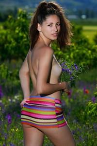 Brunette goddess Rosella bares her body playfully posing in the flowery field