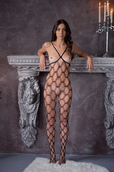 Magali A in Body Stocking from Met Art
