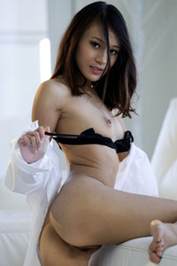 Beautiful dark haired doll Jasmine Grey takes off her sexy black lingerie baring her sweet assets