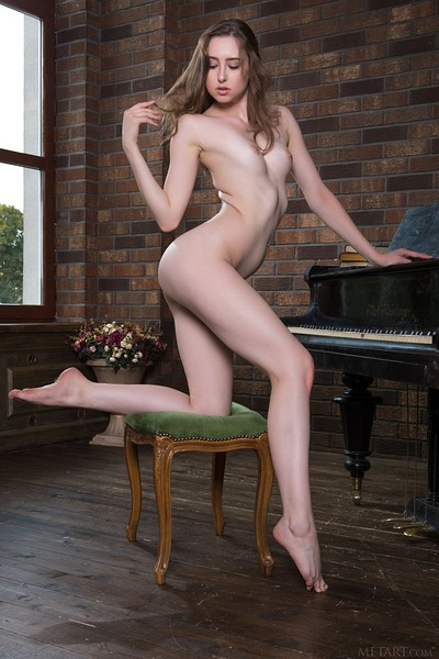 Ginger Frost in Piano Bench from Met Art