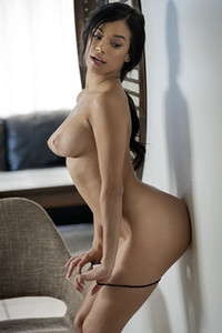 Majestic stunning girl bares her great figure with amazing tits and hairy pussy