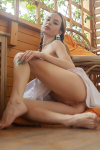 Brunette sweetheart Debora A exposes all that she had under the white dress